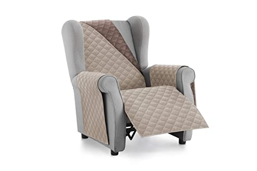 Textilhome - Funda Cubre Sofá Malu -1 Plaza - Relax - Protector para Sofás Acolchado Reversible. Color Beige C/7