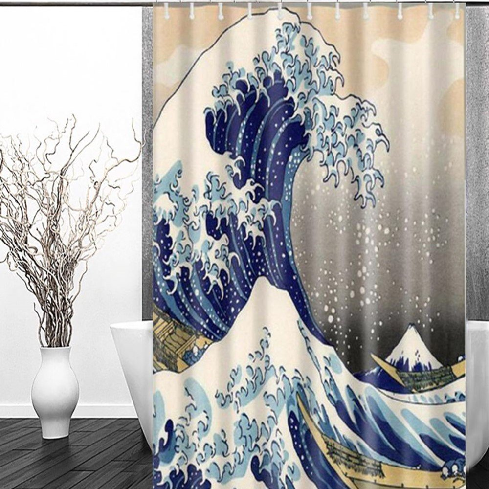 Sea Wave Shower Curtain - FastEngle Waterproof Polyester Curtain, Custom Fabric Set, Machine Washable for Bathroom Décor Shower Curtain Sets with 12 Hooks, Japanese Style Pattern Ocean 72'' x 72''