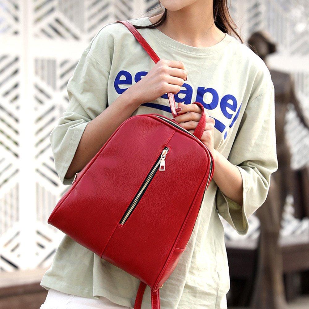 Leather Backpack Female Preppy Style Zipper Mochila School Bag