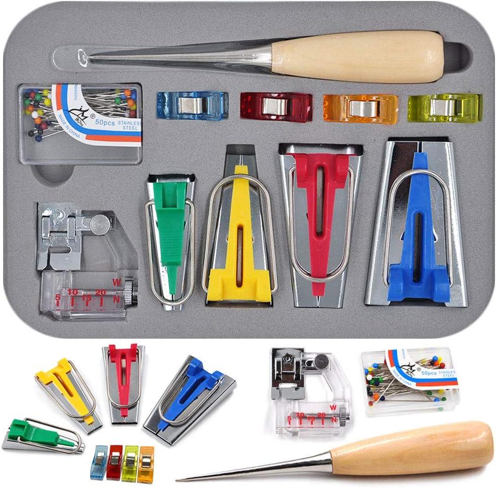 Bias Tape Maker Set 6//12//18//25mm Binding Kit Tool with Binder Bradawl Foot Quilting Clips Sewing Pins
