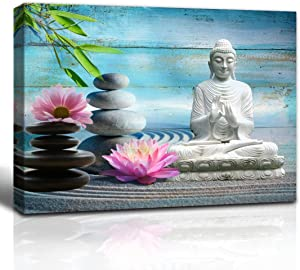 The Melody Art Zen Office Decor Buddha Statue Lotus Flower Bamboo and Zen Stone on Wooden Wall Decorations Canvas Art 12x16 inch, Framed, 1 Panel