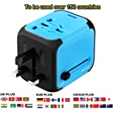 International Travel Power Adapter with 2.4A Dual USB Charger & Worldwide AC Wall Outlet Plugs for UK, US, AU, Europe & Asia,Great for iPhone / iPad / Samsung / Smartphone -Built-in Spare Fuse