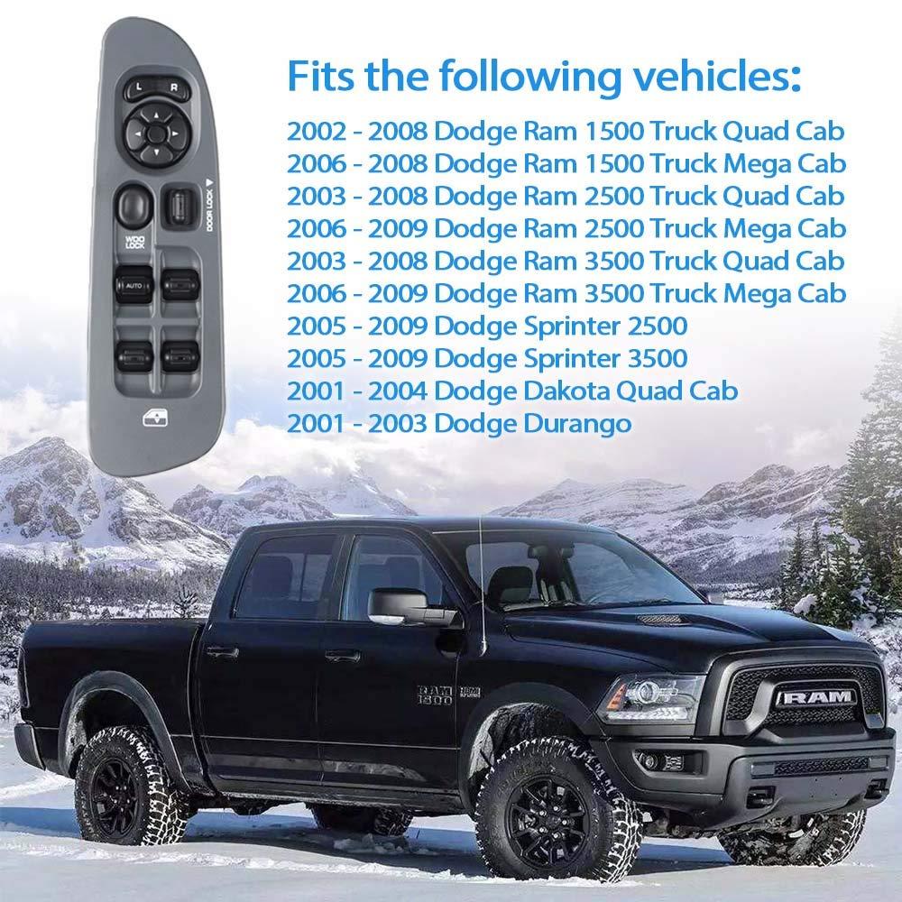 Master Power Window Switch and Bezel 56049805AB for 2002-2009 Dodge Ram 1500 2500 3500 2001-2003 Dodge Durango,2005-2009 Dodge Sprinter 2500 3500 2001-2004 Dodge Dakota Grey
