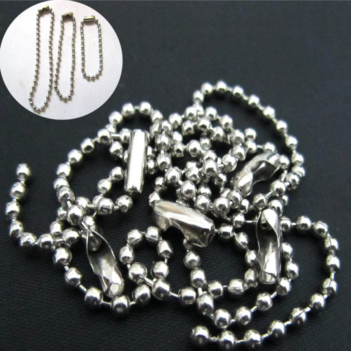 4 pack Beaded Pull Chain Extension, Each Chain Length 39 Inch (1 Meter) with Two Additional Matching Connectors, 3.2 mm Diameter Beaded, Silvery - -