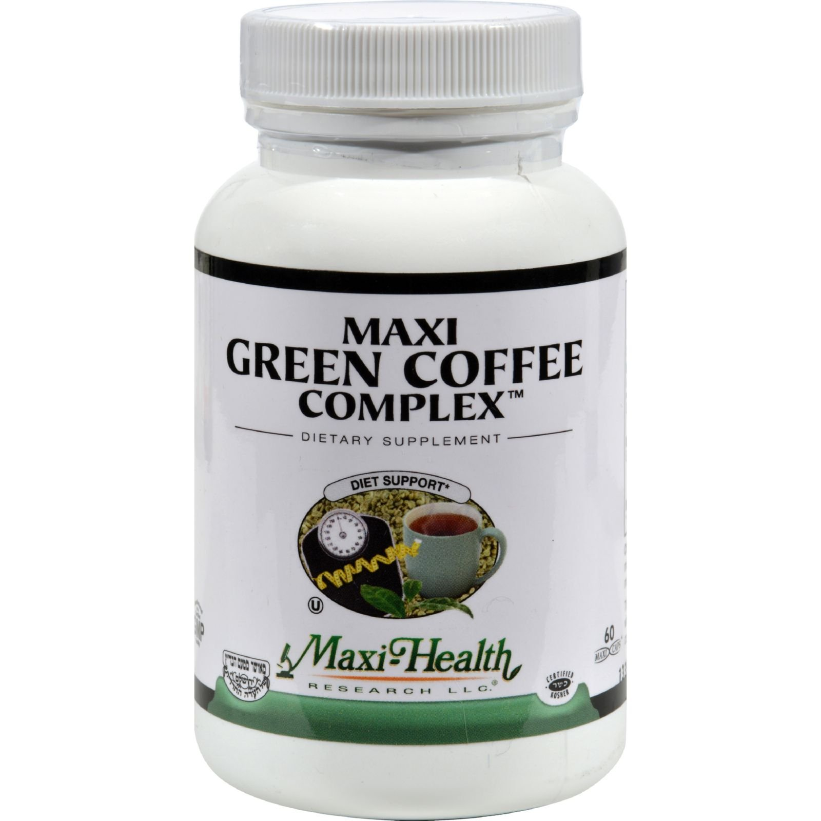 Maxi Health Kosher Vitamins Maxi Green Coffee Complex - Diet Support - 60 Vegetarian Capsules (Pack of 2)
