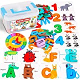 Catcrafter ABC Flash Cards Toddler Toys - Alphabet Number Clock Wooden Letter Puzzle Matching Game Montessori Preschool Educa