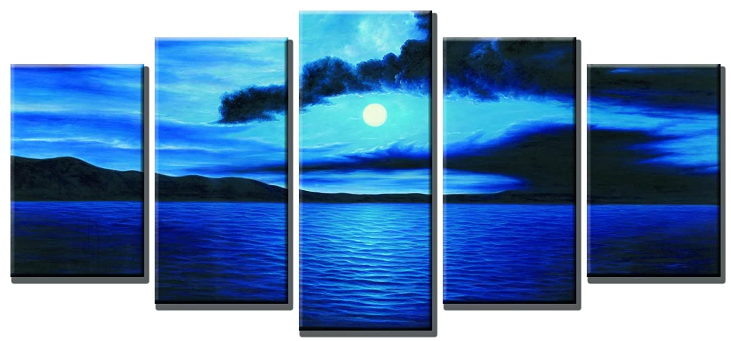 Amazon com wieco art dark blue ocean white sun modern 5 piece wrapped giclee canvas prints contemporary seascape artwork beach pictures paintings on canvas