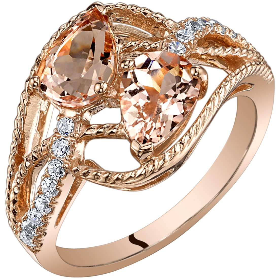14K Rose Gold Two Stone Morganite Ring Pear Shape 1.50 Carats size 8 by Peora