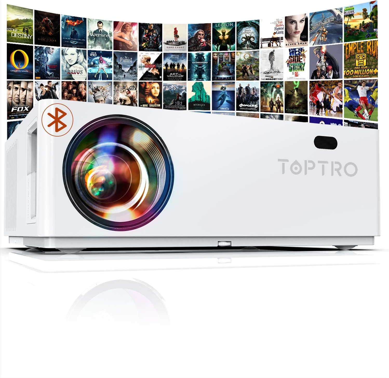 TOPTRO Projector 7200 Lux 350 inches Keystone Correction ± 50