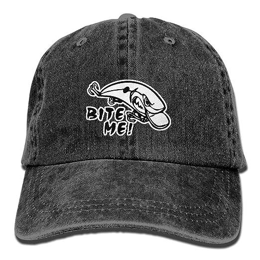 c3175f41790 Bite Me Fishing Baseball Cap Dad Hat Adjustable Hat Outdoor Cap at Amazon  Men s Clothing store