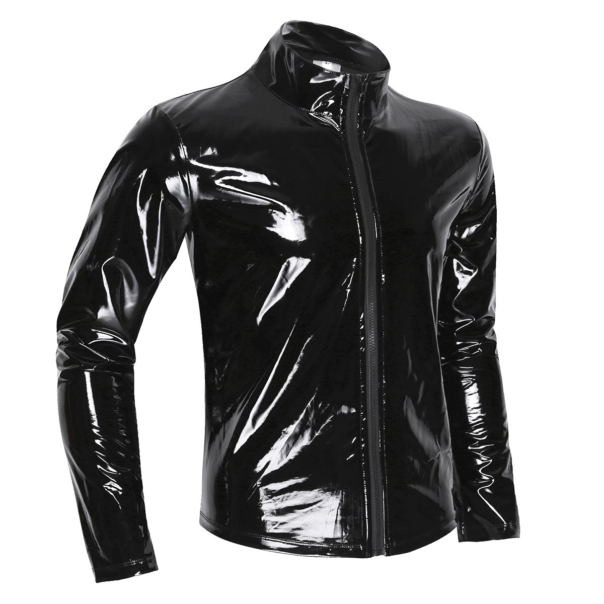 Agoky Men's Metallic Faux Leather Front-Zip Mock Neck Nightclub Style T-Shirt Top Coat Black XX-Large by Agoky (Image #2)