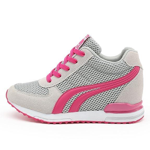 AONEGOLD® Zapatillas de Cuña para Mujer Zapatillas de Deporte Zapatillas Altas Primavera/Verano Tacón Cuña 7CM(Blanco,34 EU): Amazon.es: Zapatos y complementos