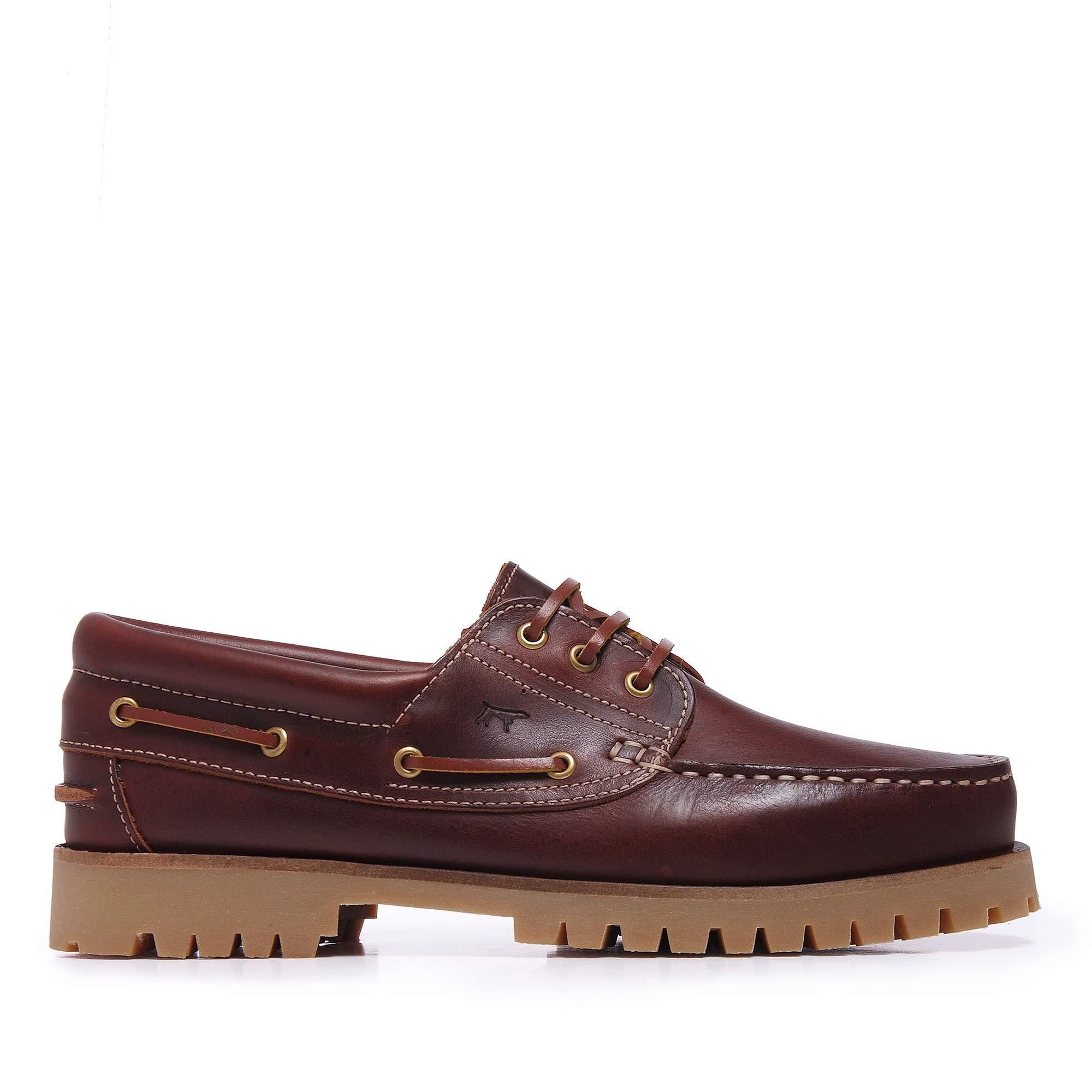 e0c886d59d2 Castellanísimos C01104 Zapato Náutico de Hombre en Piel con Cordones Estilo  Montañero Marrón