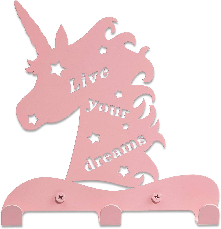 Unicorn Kid's Hook Rack – Lightweight, Laser-Cut Steel Wall Decor for Kids + 3 Coat Hooks – Bathroom/Bedroom/Nursery Wall Organizer for Coats, Hats, Bags, Towels by Ariel Metal Design.… (Pink)