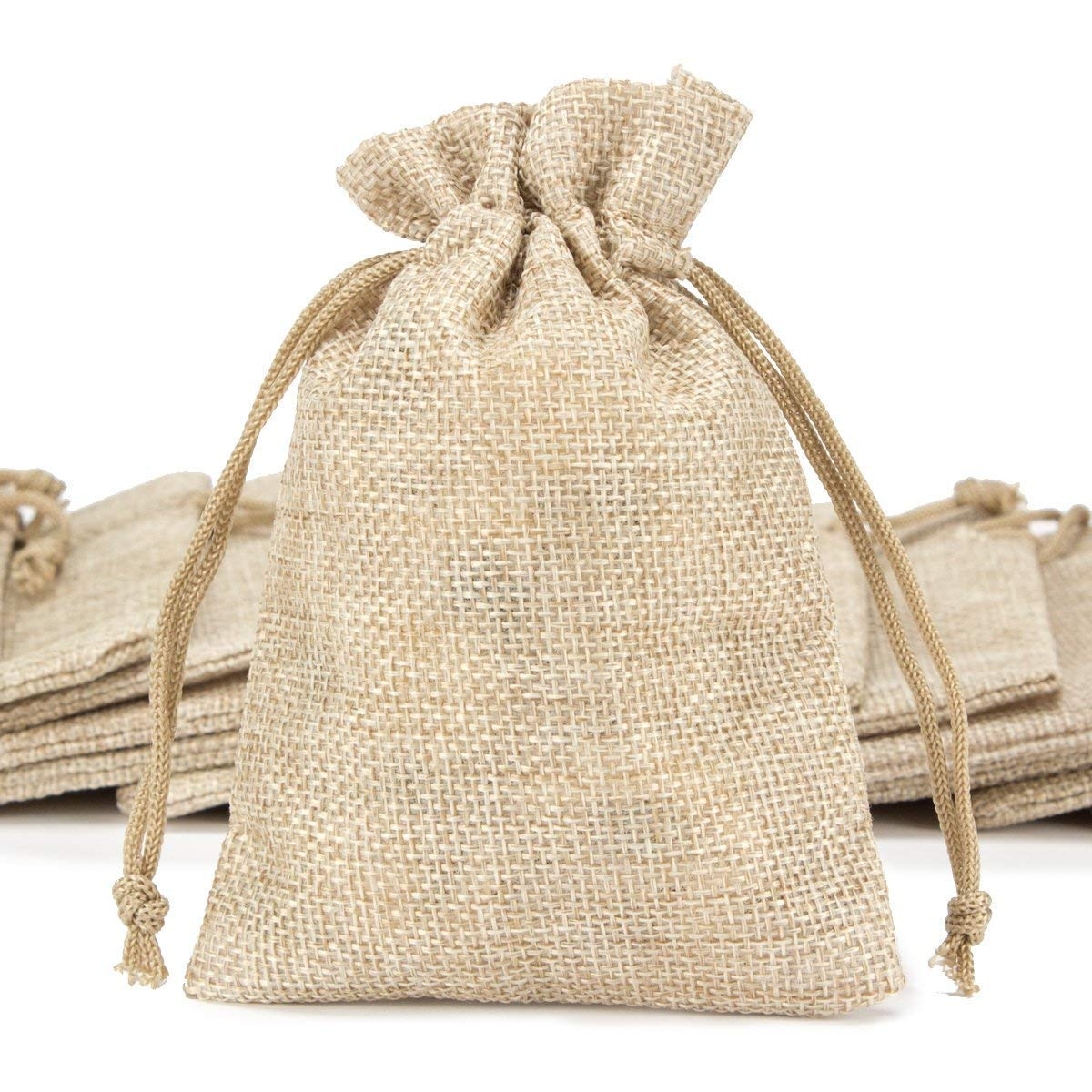 ANPHSIN 50 Pieces Burlap Bags with Drawstring, 5.43x3.74 inch Burlap Gift Bag Jewelry Pouches for Wedding Favors, Party, DIY Craft and Christmas