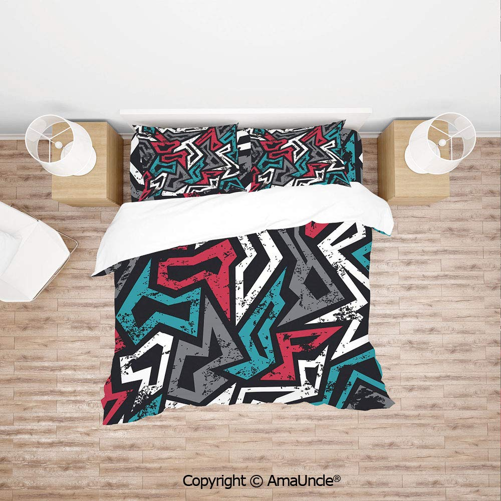 SCOCICI Abstract Shapes in Graffiti Art Style Underground Hip Hop Culture Funky Street W Simple Cover Set Bedsheet Pillowcases Bedding Set 4pc Full Size