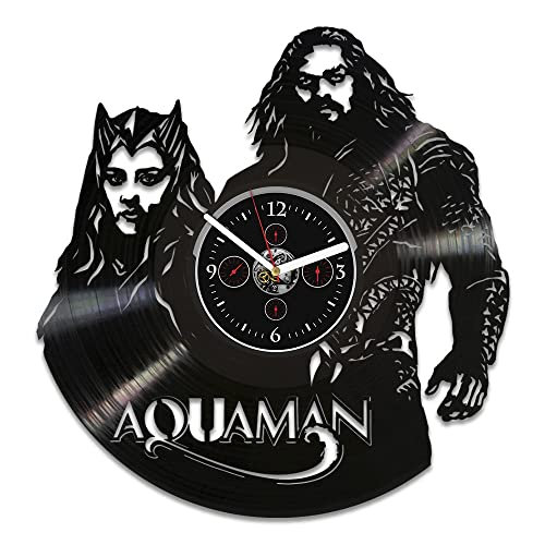 Handmade Vinyl Record Wall Clock, DC Comics Clock, Aquaman Vinyl Wall Clock, Mera Clock, Wall Clock Modern, Aquaman Clock, Aquaman Gift, Gift For Man, Wall Clock Large, Birthday Gift For Kids