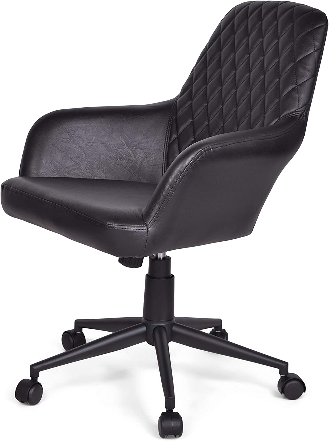 Simpli Home Goodwin Swivel Adjustable Executive Computer Office Chair in Distressed Black