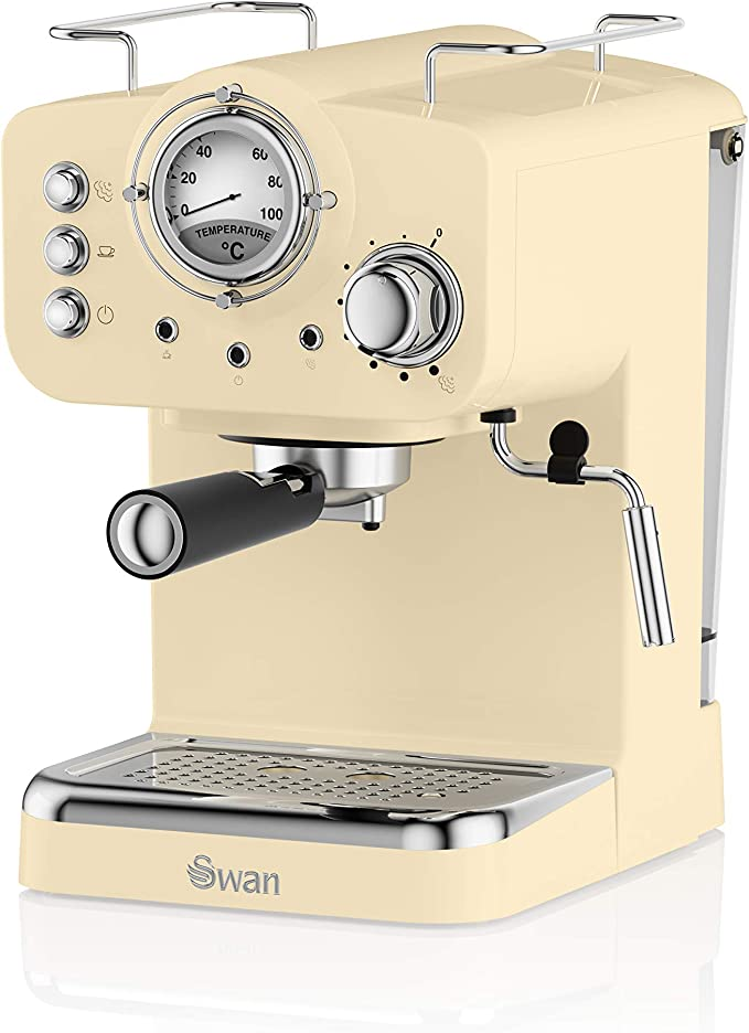 Swan SK22110CN, Retro Pump Espresso Coffee Machine, 15 Bars of Pressure, Cream