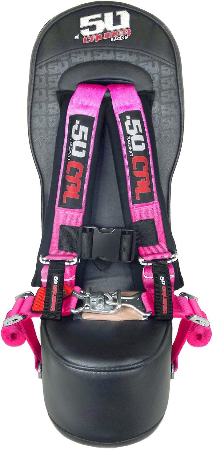 Bump Seat with 2 Pink 4 Point Safety Harness Mounting Hardware Included Fits Polaris RZR Models 5048A5 CB 6008-A2
