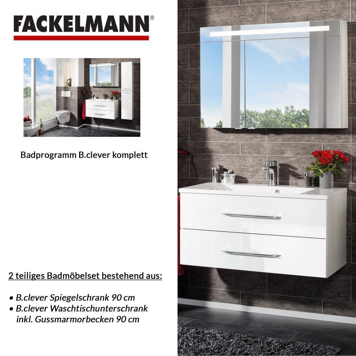 Fackelmann Badmöbel Set B.Clever 2-tlg. 90 cm weiß mit Waschtisch ...