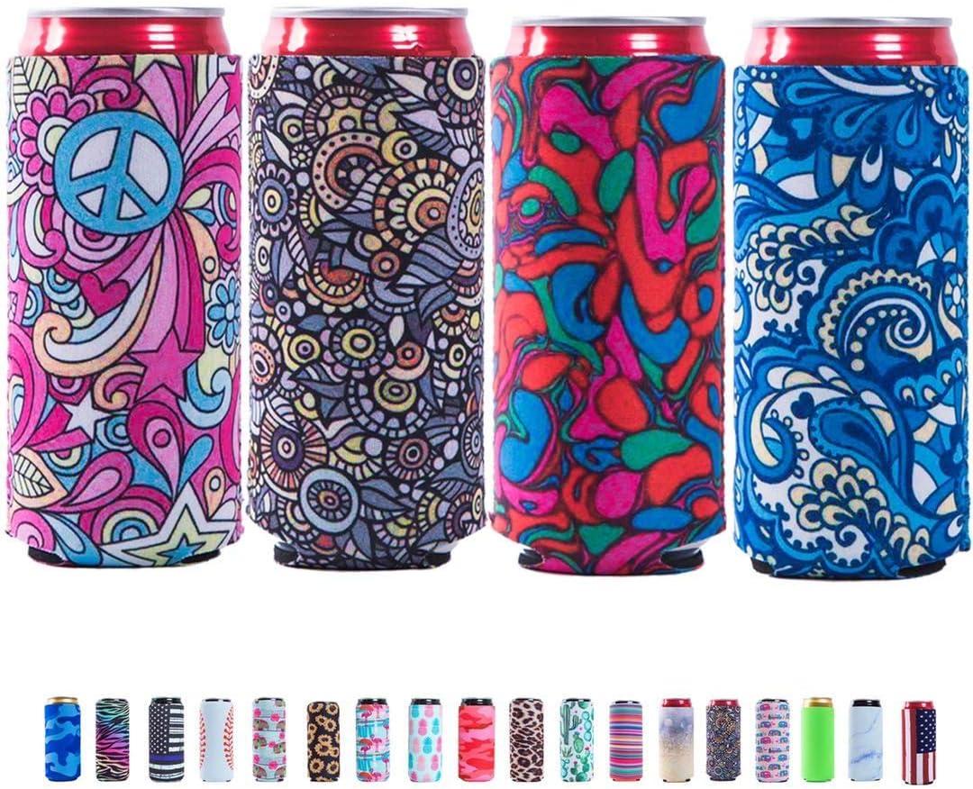 Slim Can Sleeves - Neoprene Bottle Insulator Sleeve Set of 4 Can Beverage Coolers for 12oz Energy Drink & Beer Cans (Pattern)