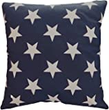 """Decorative Printed Star Floral Throw Pillow Cover 18"""" Navy"""