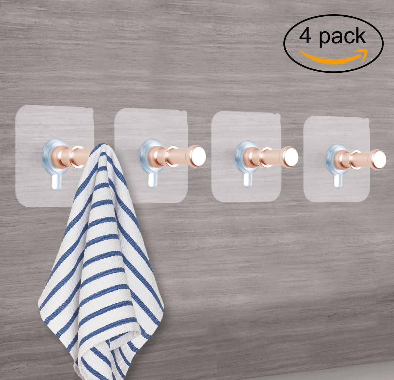 Sendida Wall Mounted Adhesive Hooks - 4 Pcs Aluminum Wall Hooks Nails Free No Drills Screw in Hooks for Hanging Hat Closet, Coat, Towel Hooks - Gold