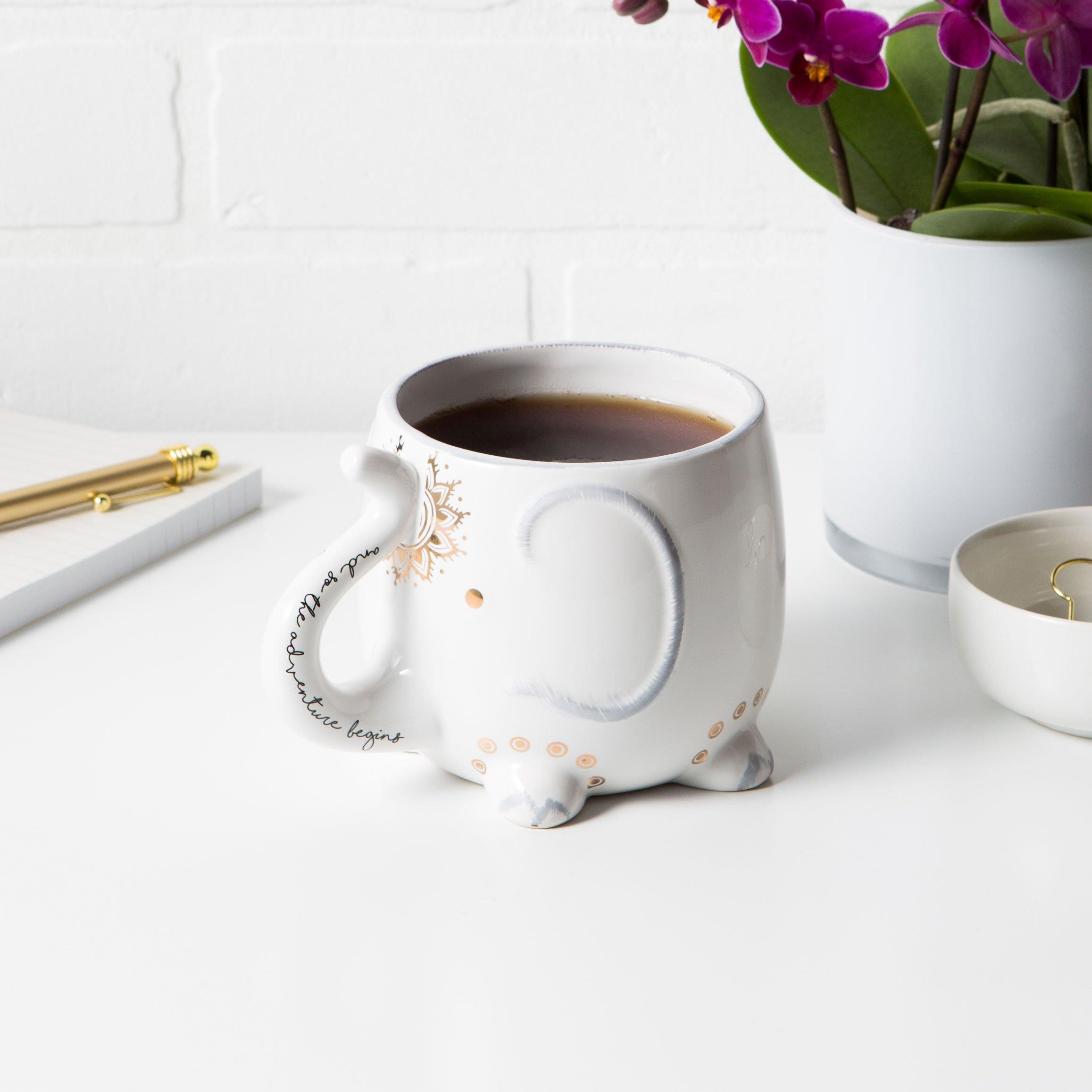 White Ceramic Coffee or Tea Mugs: Tri-Coastal Design Soho Boho Elephant Coffee Mug with Gold Foil Details, Fun Trunk Handle and Printed Saying - 18.6 Fluid Ounce Large, Cute Handmade Cup by Tri-coastal Design (Image #4)