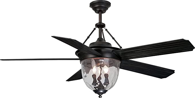 Craftmade Outdoor Ceiling Fan With Light KM52ABZ5LKRCI Knightsbridge 52  Inch Patio Fan With Remote, Bronze
