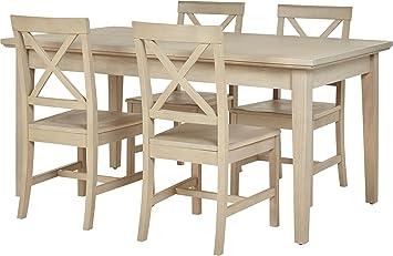 Tesco Loire Kiefer Massiv 4 Sitz Mit Esstisch Und Stuhl Set (gekalkte Eiche  Finish)