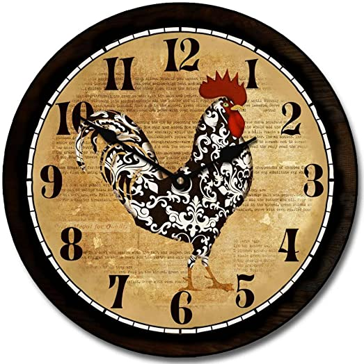Black White Rooster Wall Clock