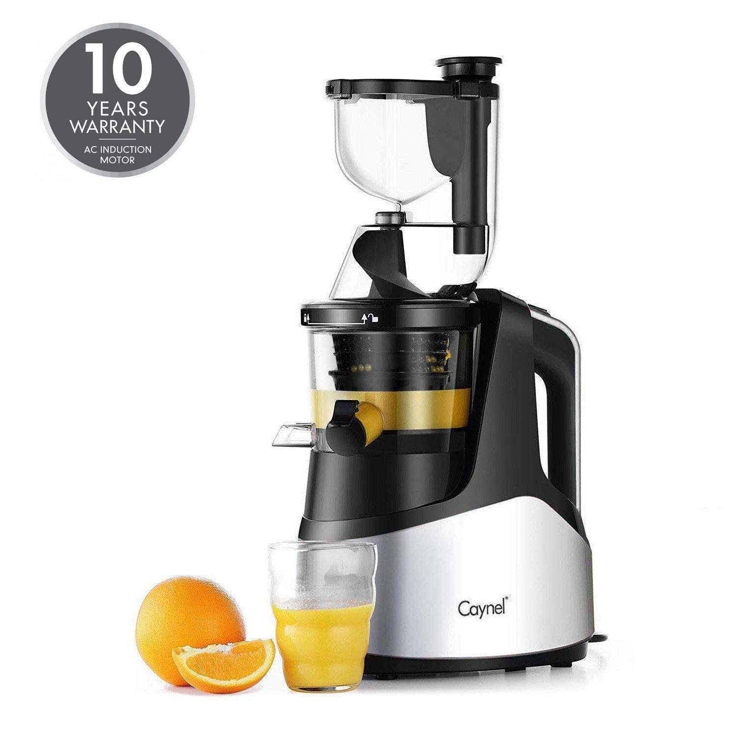 Slow Masticating Juicer Caynel Cold Press Extractor with 3'' Wide Chute for Fruits, Vegetables and Herbs, Quiet Durable Motor with Reverse Function, Smoothie Strainer Included, High Yield Vertical Juicer Easy Cleaning , BPA Free, Silver (SILVER) by CAYNEL