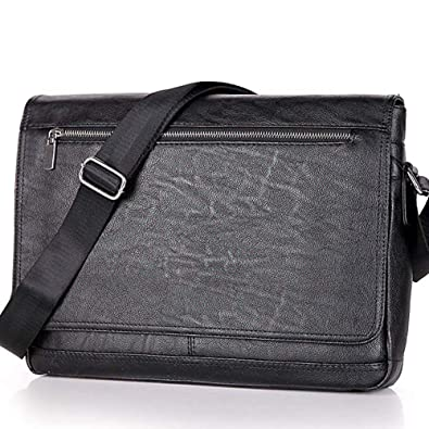 8535486a00 Amazon.com  Men Laptop Computer Messenger Bags Black Business Crossbody Bag  for Men Soft Leather Shoulder Bag 14inch SAJOSE (Black)  Shoes
