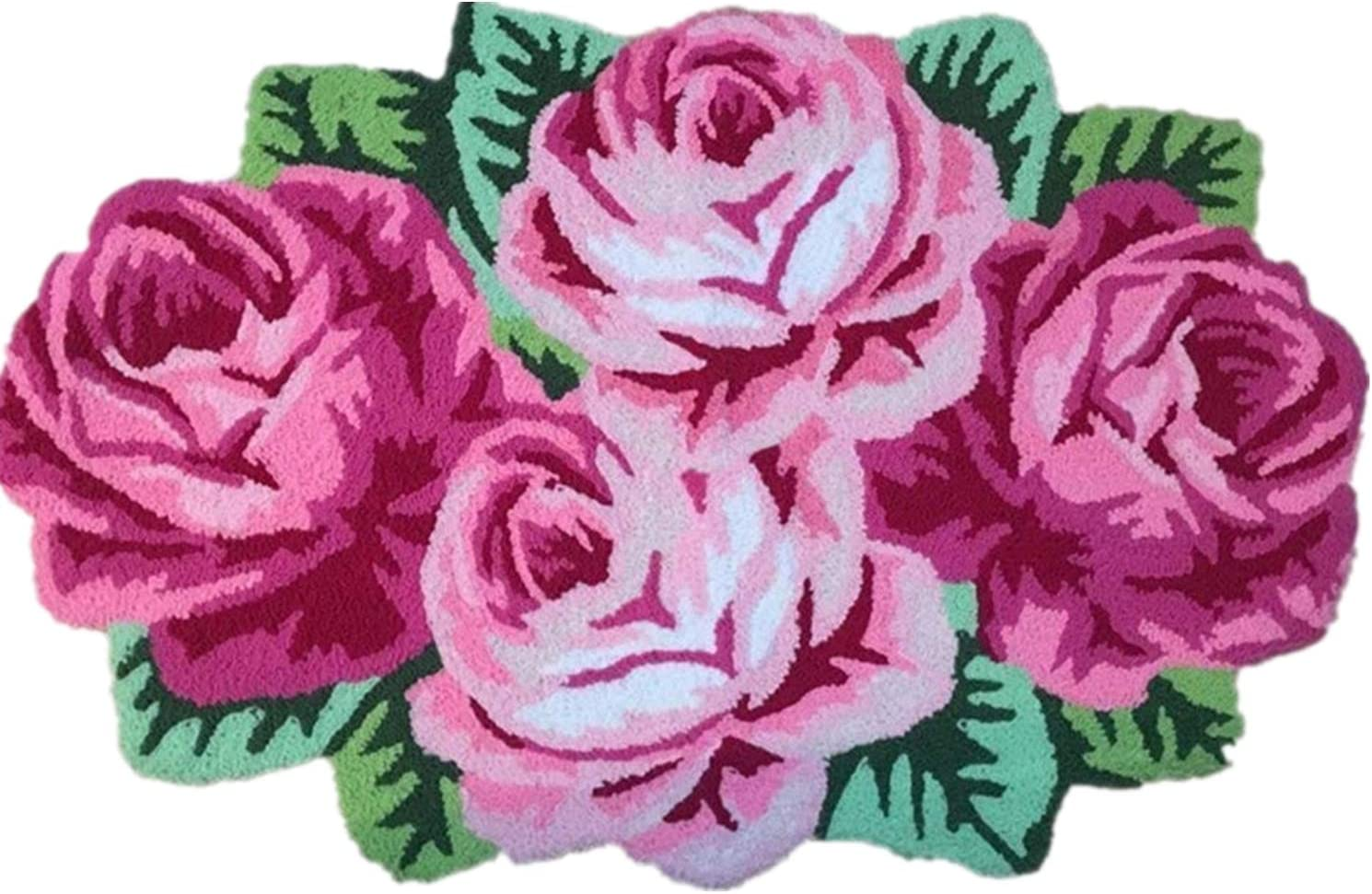 Abreeze 4 Rose Rug Pink Handmade Bathmat Floral Rug Girls Bedroom Rugs Washable Non-Slip Floor Carpets