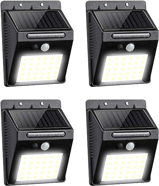 Lavcus 30 LED Luz Solar Exterior Lámparas con Sensor de Movimiento Iluminacion Focos LED Exterior para Jardín Muros Exteriore Patios Terrazas, 4 Piezas [Clase de eficiencia energética A+++]: Amazon.es: Iluminación