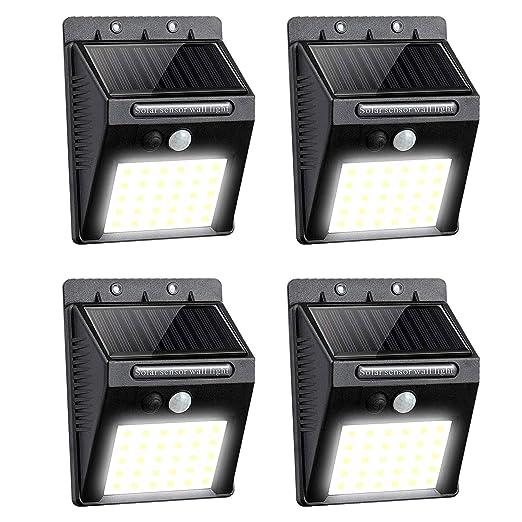 Lampe Solaire Exterieur 30 Led Eclairage Solaire Sans Fil Lumiere Solaire Impermeable Avec Detecteur De Mouvement Lampe De Securite Projecteur