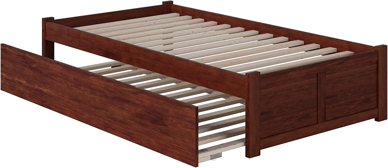 Atlantic Furniture Concord Bed with Footboard and Twin Extra Long Trundle, XL, Walnut
