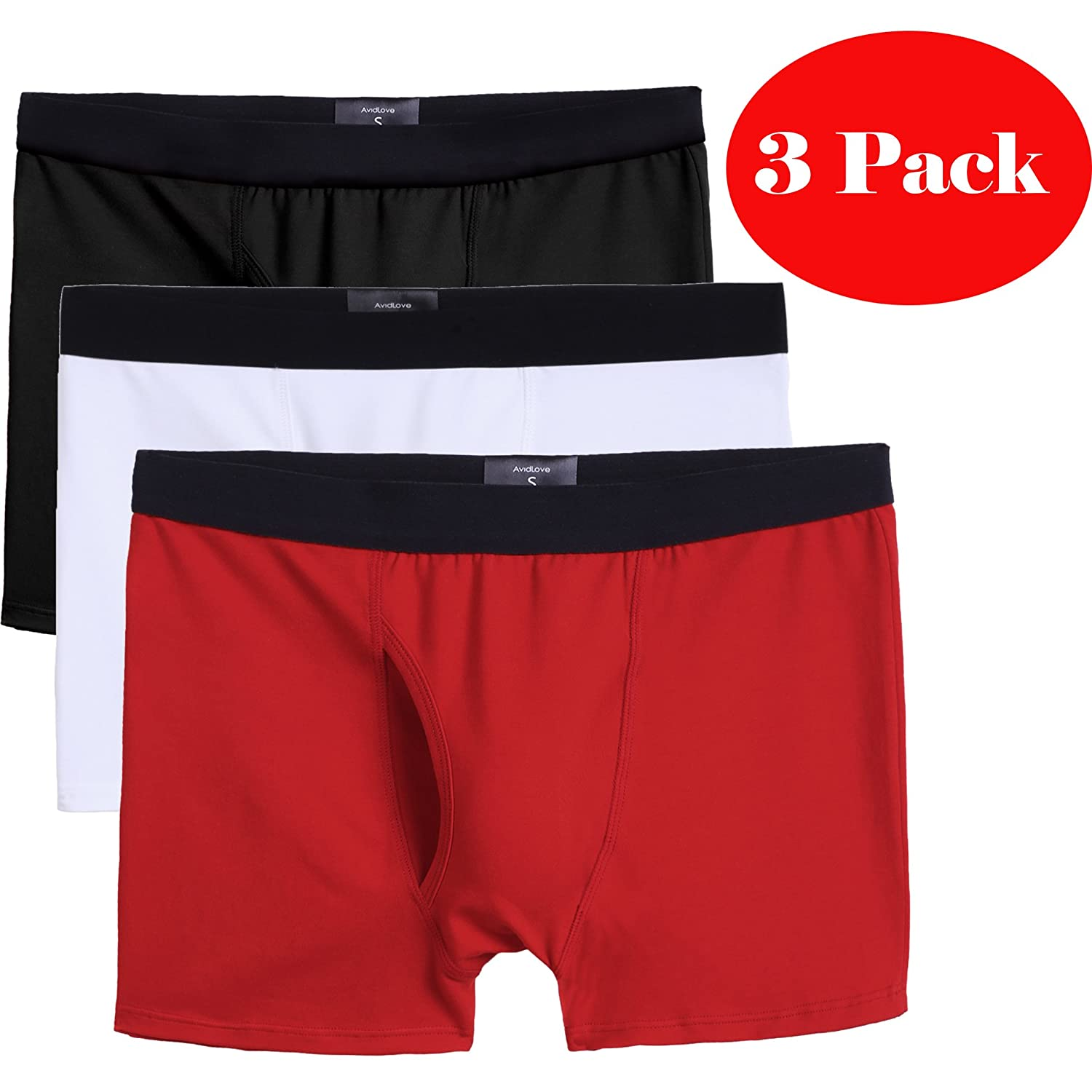 e7ab7cd3bf06 Avidlove Men's 3-Pack Stretch Boxer Brief Double Crotch Cotton Underwear at  Amazon Men's Clothing store: