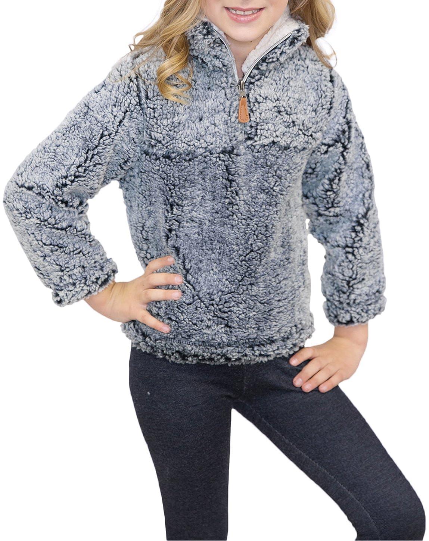 Girl's 1/4 Zip Long Sleeve Pebble Pile Casual Sherpa Fleece Pullover STFleece02-Gray-S