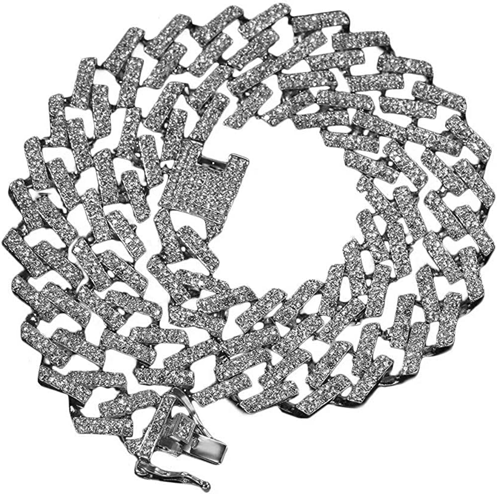 Collar de cadena cubana helada de diamante de laboratorio simulado Hip Hop de 15 mm, collar de estilo cubano para hombre chapado en oro de 18 k, collar de rapero de joyería