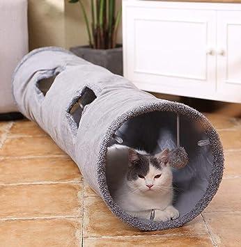 PENVEAT - Túnel Plegable para Gatos con Pelota de Juguetes Divertidos para Gatos, 2 Agujeros de Ante para Mascotas, como Foto,67 x 30 cm: Amazon.es: ...