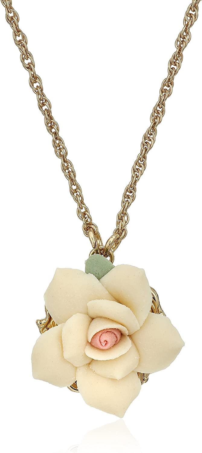 1928 Jewelry Gold-Tone Porcelain Rose Pendant Necklace, 16""