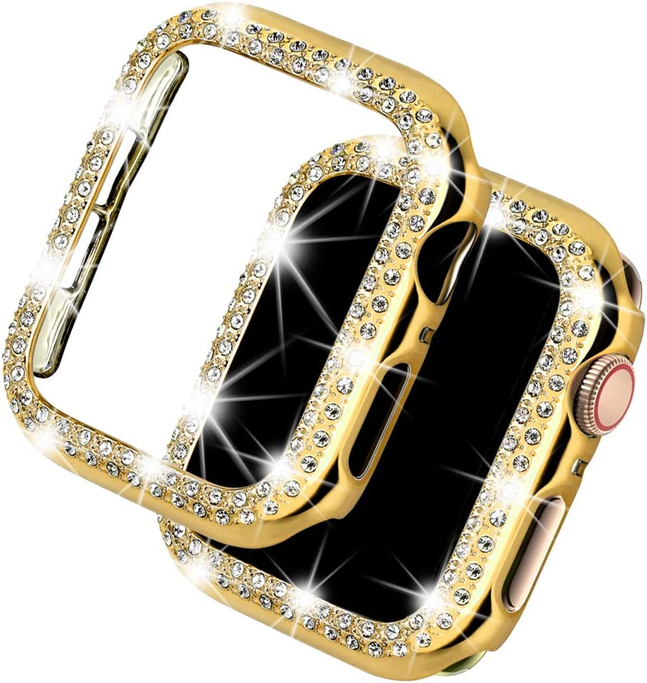 Deeplus Bling Case Compatible Apple Watch Case 38mm, iWatch Series 5 4 3 2 1, Sparkling Crystal Diamond Case Cover Rhinestone Protective Frame Screen Protector (Gold, 38mm)