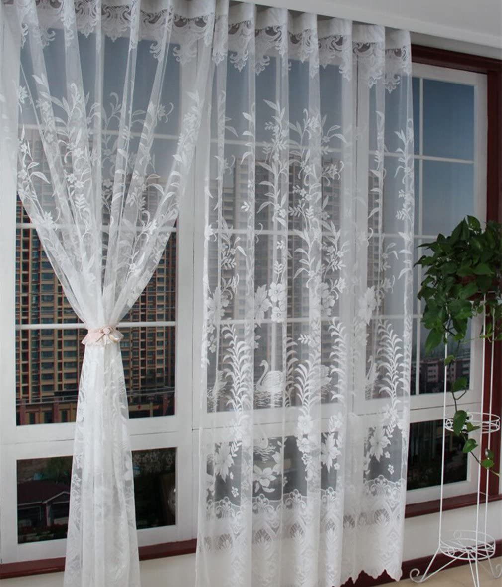 ZHH 1 Panel Elegant White Lace Crochet Sheer Swan and Jacquard Patterns Tulle Curtains for Windows 118 by 94-Inch, White
