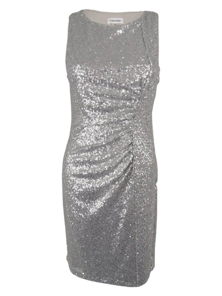 Calvin Klein Women's Sheath with Side Ruching Dress Silver Dress 10
