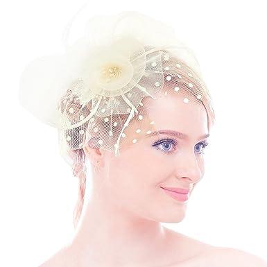 Damen Braut Feder Fascinator Patei Blumen Kopfschmuck Garn Braut