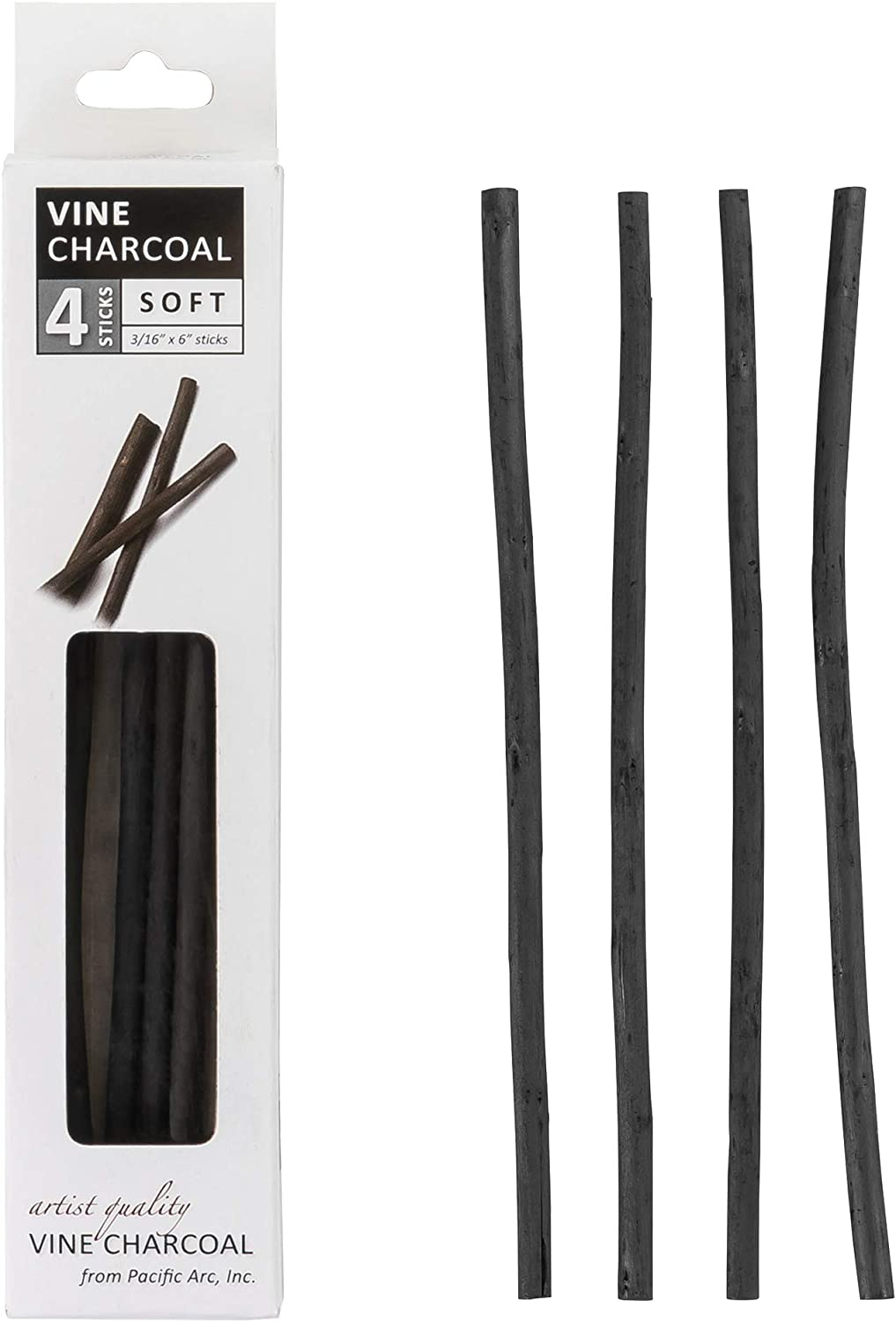 Pacific Arc Artist Vine Charcoal Black 12 Pieces Soft Artist Vine Charcoal Sticks Extra Soft and Smooth Drawing Charcoal