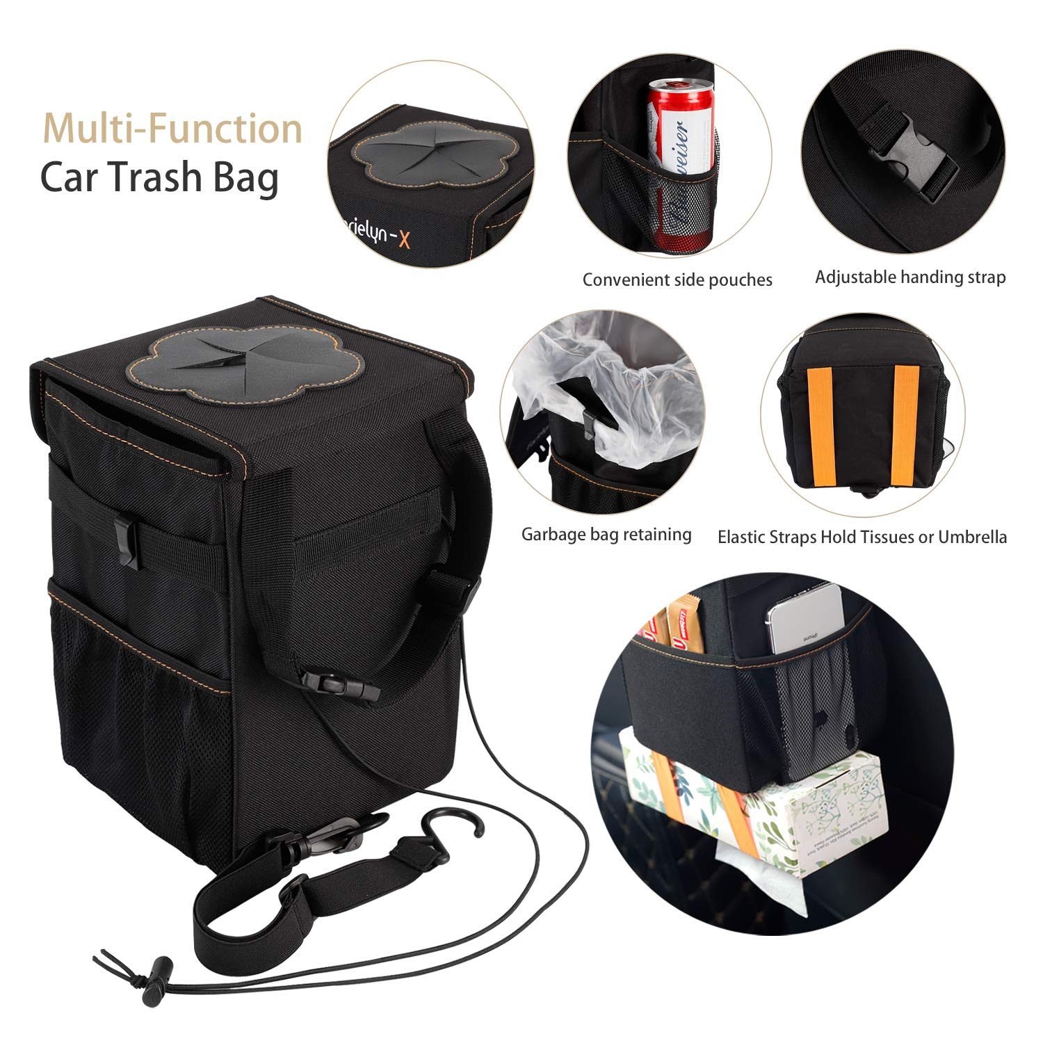 Car Trash Can with Lid and Storage Pockets Leak-Proof Vinyl Farielyn-X Car Trash Garbage Bag Can