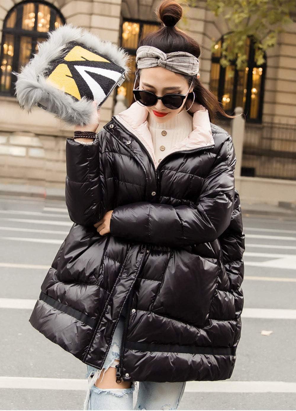 DPKDBN Doudoune, DoudouneFemmes Lâche Ultra Léger Blanc Canard Duvet Manteau Parkas Femme Col Roulé Poches Épaisse Manteau Chaud Noir